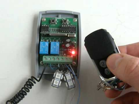 Universal 12 - 24V Rolling,fixed code receiver programming procedure with 433,92MHz remote