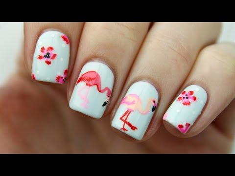 Flamingo & Floral Nail Art Tutorial