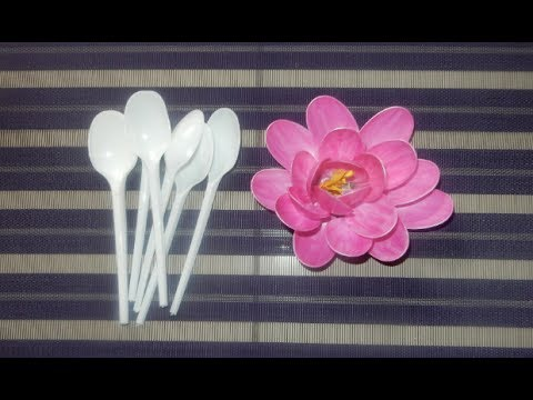 Diy Lotus Flower Made By Plastic Spoon Youtube