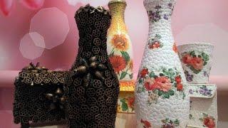 Декор бутылок яичной скорлупой и макаронами. Декупаж. Картонные шкатулки своими руками