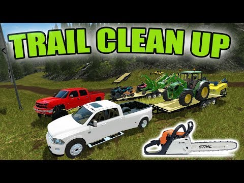 FARMING SIMULATOR 2017   ATV TRAIL CLEAN UP WITH NEW WINCH   MULTIPLAYER!