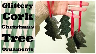 Dollar Store Crafts: Glittery Cork Christmas Tree Ornaments