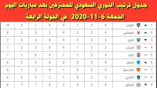 جدول ترتيب الدوري السعودي للمحترفين بعد مباريات اليوم الجمعة 6 11 2020 في الجولة الرابعة Youtube