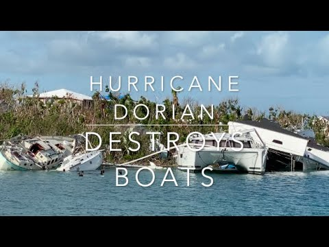 Yachts and Boats destroyed by Hurricane Dorian in Manowar Car, Abacos, The Bahamas