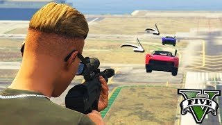 GTA V Online: SNIPER vs SUPER CARROS - O ATIRADOR de ELITE!!!