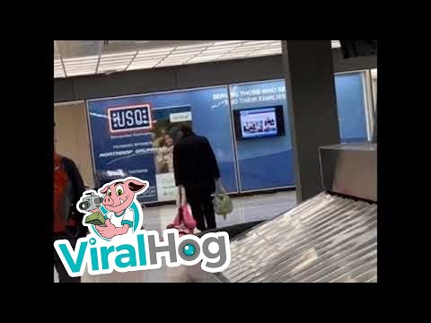 Dad Drags Daughter Through Airport || ViralHog