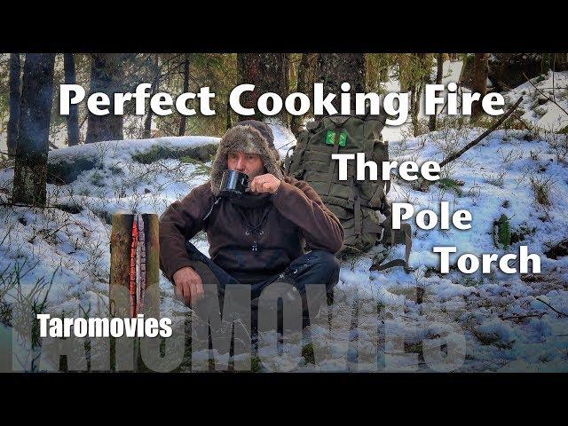 Three Pole Torch - Bushcraft Cooking Fire / 4K Video
