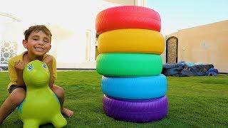 الكفرات الملونة للأطفال مع زياد والياس - Coloring tires for kids with Zyad and Elias