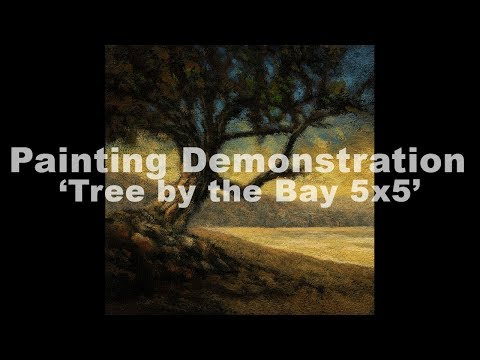 Tree by the Bay 5×5 Tonalist Landscape Painting Demonstration