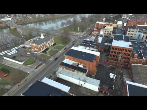 Drone footage of beautiful Downtown Marietta, Ohio