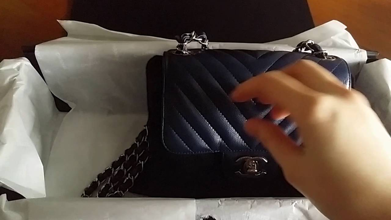 1a47e68a1265 Unboxing Navy Blue Chanel Mini Square Flap. Bag Dolly