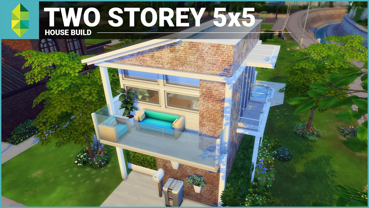 The sims 4 house building two storey 5x5 youtube for Cheapest 2 story house to build