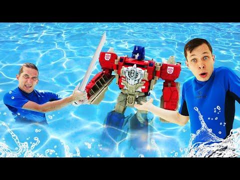 Видео игры с Трансформерами – Оптимус Прайм и Акватим спасают Аквапарк! – Сборник видео шоу онлайн.