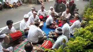 Hindu Offering with Gamelan in Bali, Indonesia