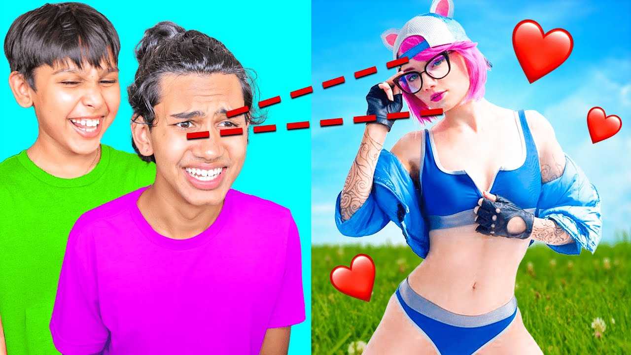 Eye Tracker vs *REAL LIFE* Fortnite Girls with My Little Brother.. 😂