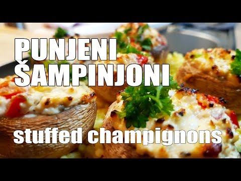 Recept: Punjeni šampinjoni / pečurke / gljive / stuffed champignons