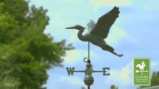 Gd9606v1 Blue Heron Weathervane Blue Verde Copper