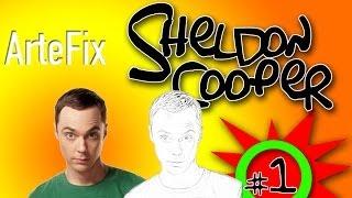 How to draw Sheldon Cooper (Big Bang Theory) Jim Parson - Portrait