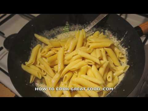 Bacon & Mushroom Cream Pasta Recipe - Penne - Super Easy