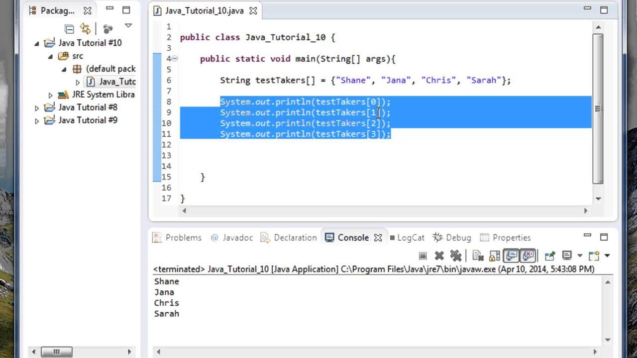 Beginner Java Tutorial #10: For loop with arrays in Java