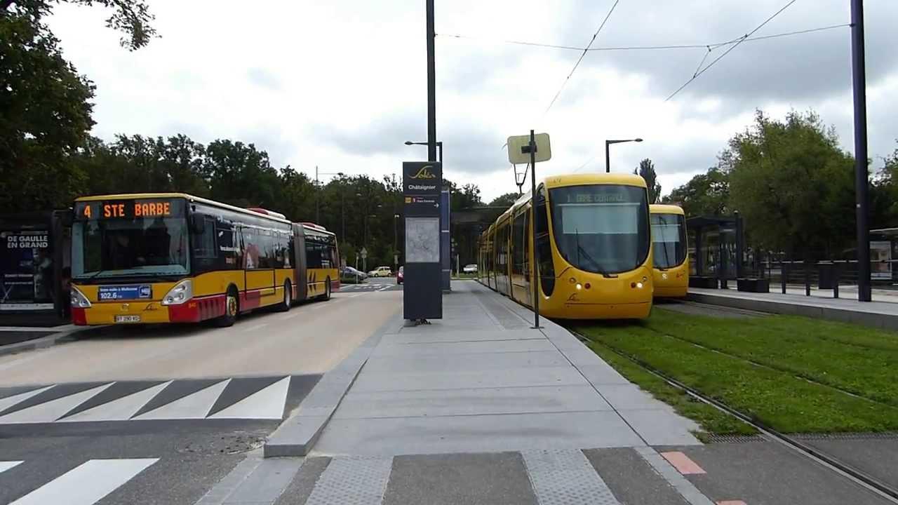 tramway ligne 1 et bus de la nouvelle ligne 4 ch taignier mulhouse youtube. Black Bedroom Furniture Sets. Home Design Ideas