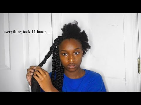 ATTEMPTING TO BOX BRAID MY 4C NATURAL HAIR! | Coco Chinelo