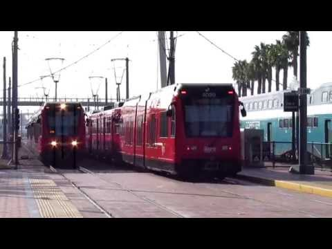 San Diego Trolley #4015 Pull-In with #4023 and #4020