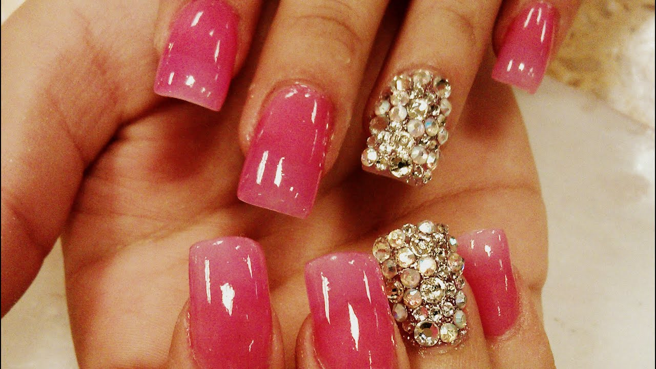 hot pink nails with diamonds-#38