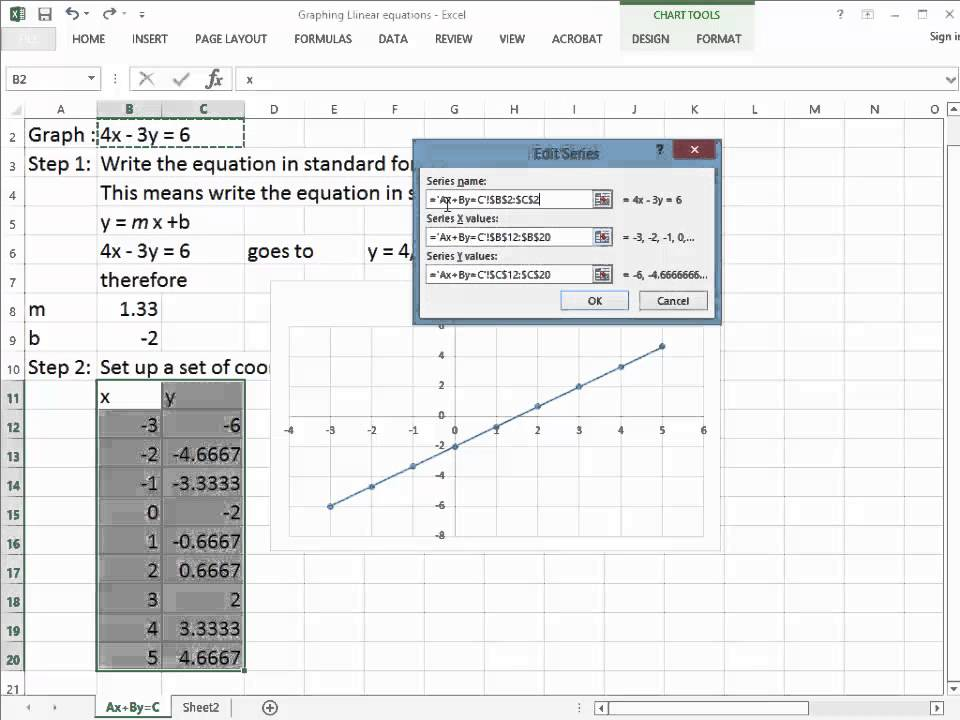 Graphing Linear equations on excel - YouTube - How To Graph Excel