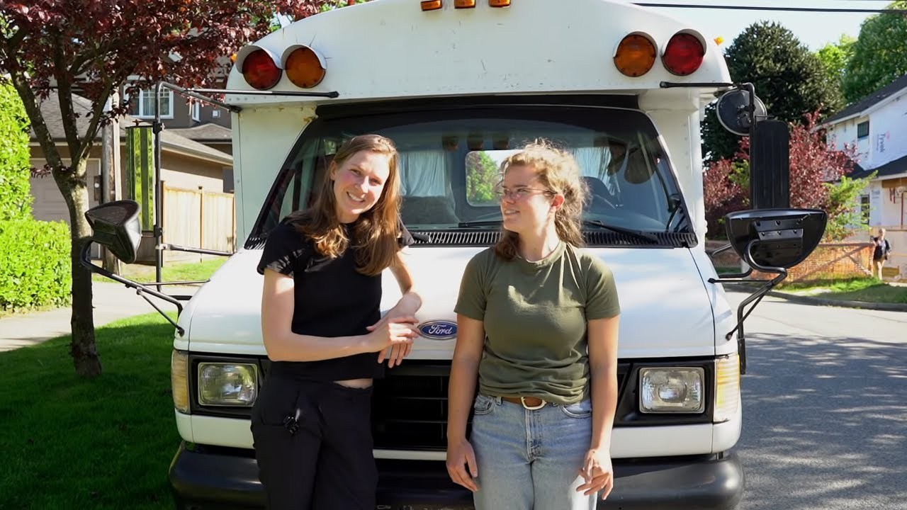 Two Women Travel in Self Converted School Bus Tiny Home with Air conditioning and kitchen!