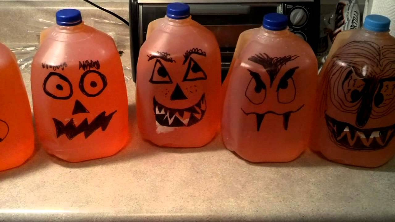 make halloween pumpkins or ghost from milk jugs youtube - Milk Carton Halloween Ghosts