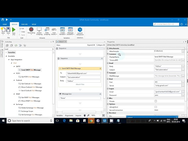 Send Smtp Mail Message –email activities in Uipath RPA - Kathik