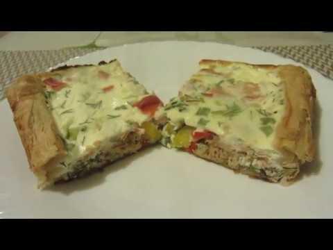 Открытый рыбный пирог с горбушей и овощами со слоеным тестом. Нежный, сочный и очень вкусный!