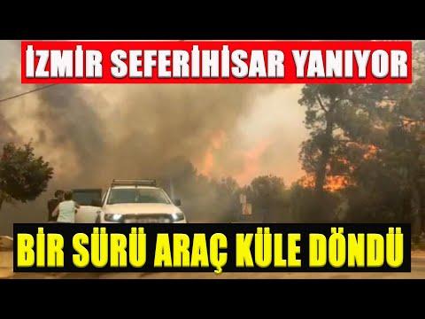 İzmir Seferihisar'da  Korkutan Yangın Bir Çok Araç Yanıyor 23.08.2020 TURKEY