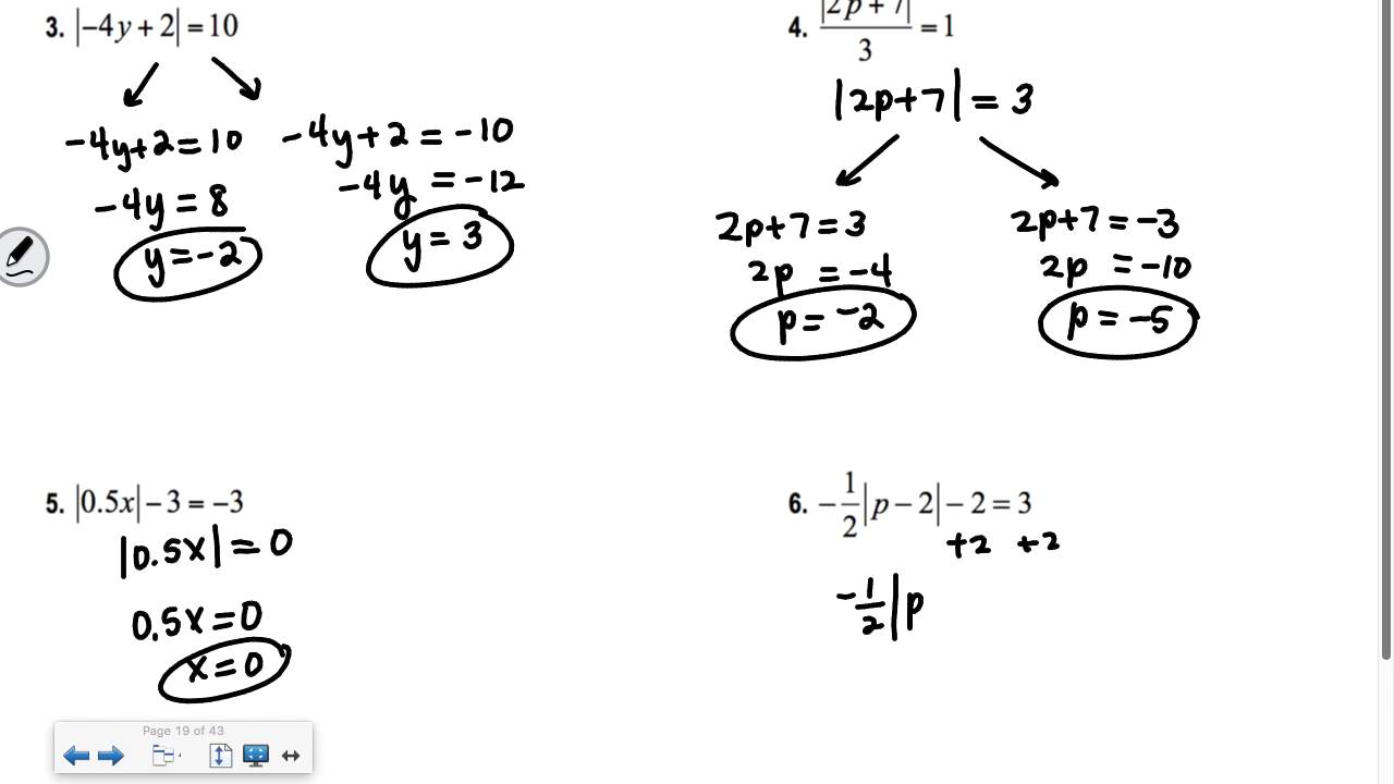 Section 1.4 Algebra 2: Solving Absolute Value Equations