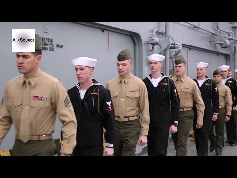 Marines and Sailors from USS Bataan Manning the Rail