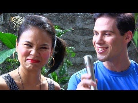 Julia Clarete tests the Filipino language skills of Travis Kraft