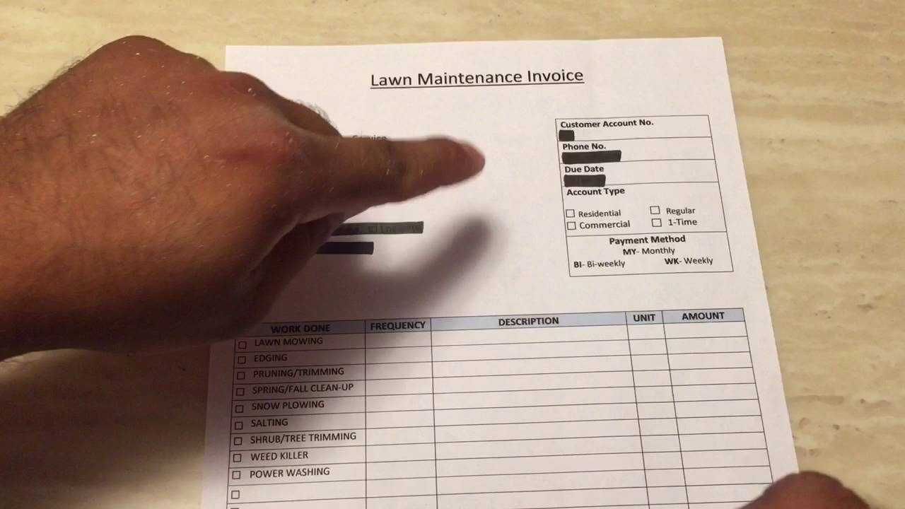 How To Make A Lawn Care Invoice YouTube - Lawn mowing invoice