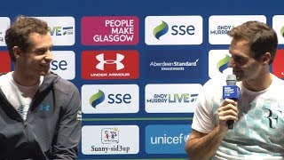 Andy Murray & Roger Federer Ahead Of Their Charity Tennis Match In Glasgow
