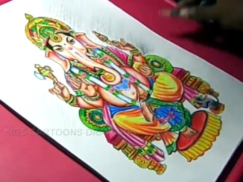 How to Draw LORD GANESHA COLOR DRAWING Step by Step for Kids YouTube