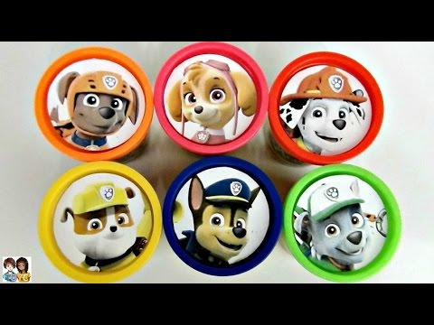 Nat and Essie Teach Colors with Paw Patrol Play-Doh Lids