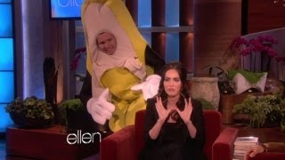 Megan Fox Gets Scared By a Giant Banana!