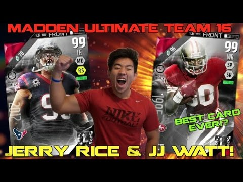 """BEST CARD EVER!? NEW """"GOAT"""" JERRY RICE & NEW JJ WATT ARE UNSTOPPABLE! Madden Ultimate Team 16"""