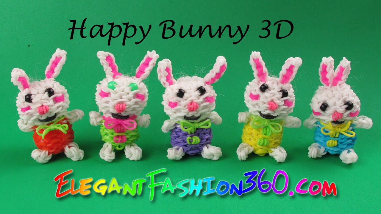 Bekannt Rainbow Loom Happy Bunny 3D/ Easter Stuffed Animal- How to Loom  CZ72