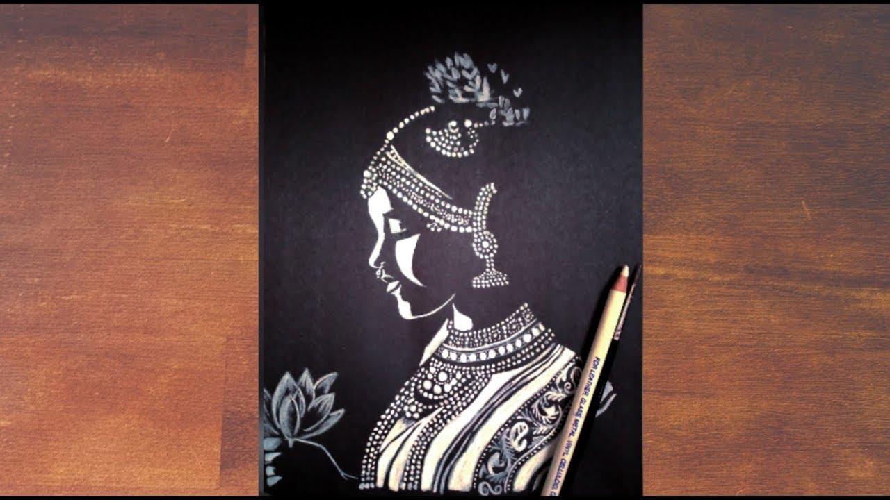 Bharatnatyam Girl Black And White Painting Youtube