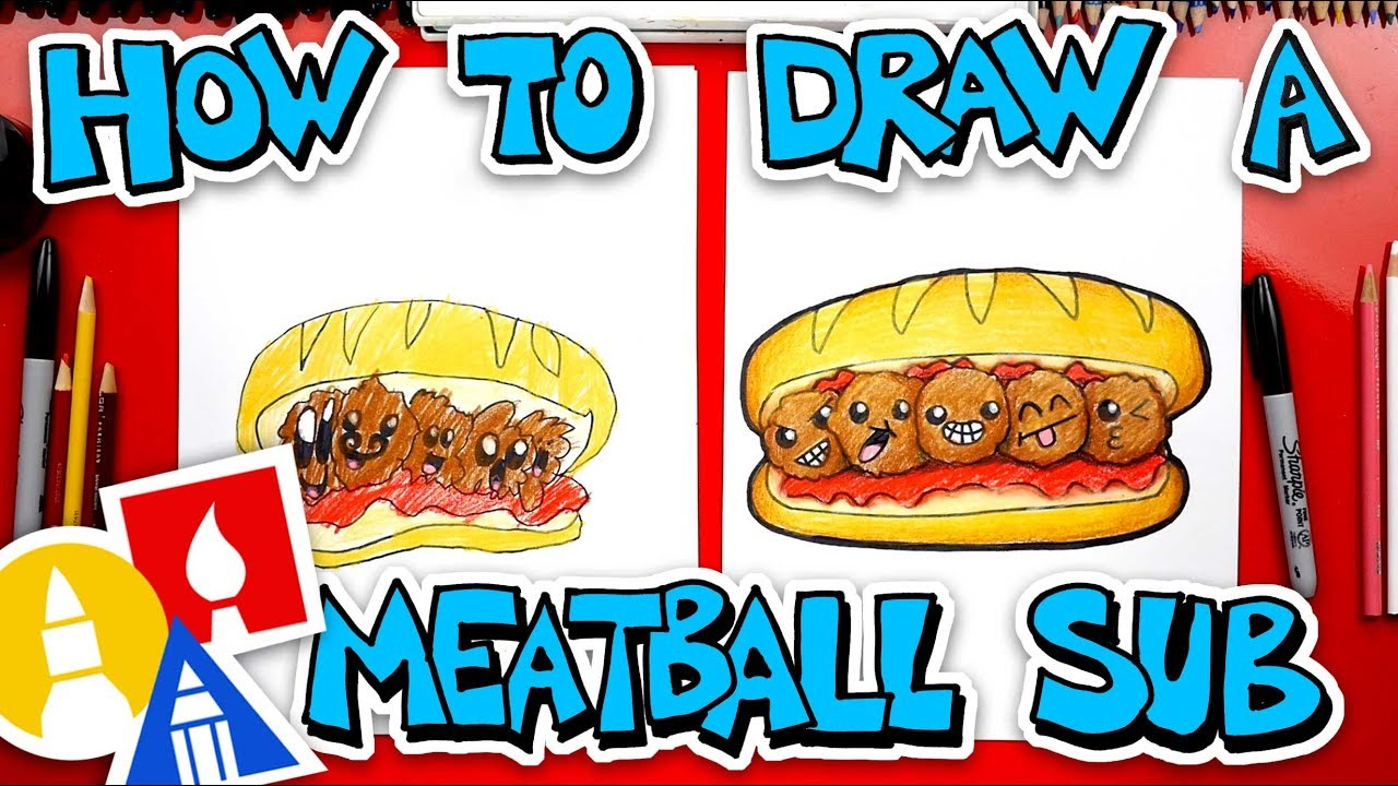 How To Draw A Funny Meatball Sub Youtube