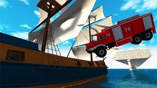 Beamng drive - Destroying Pirate Ships With Heavy Cars