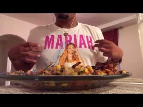 Eating Whisper Sounds ASMR : Ground Turkey with Sweet Potato Fries and a Tomato, Corn Chutney
