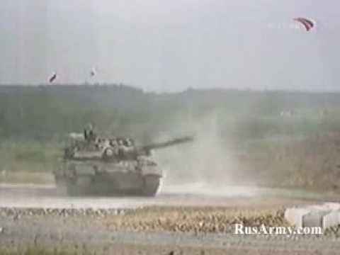 A mix of russian main battle tanks, mainly the T80, T90, BE