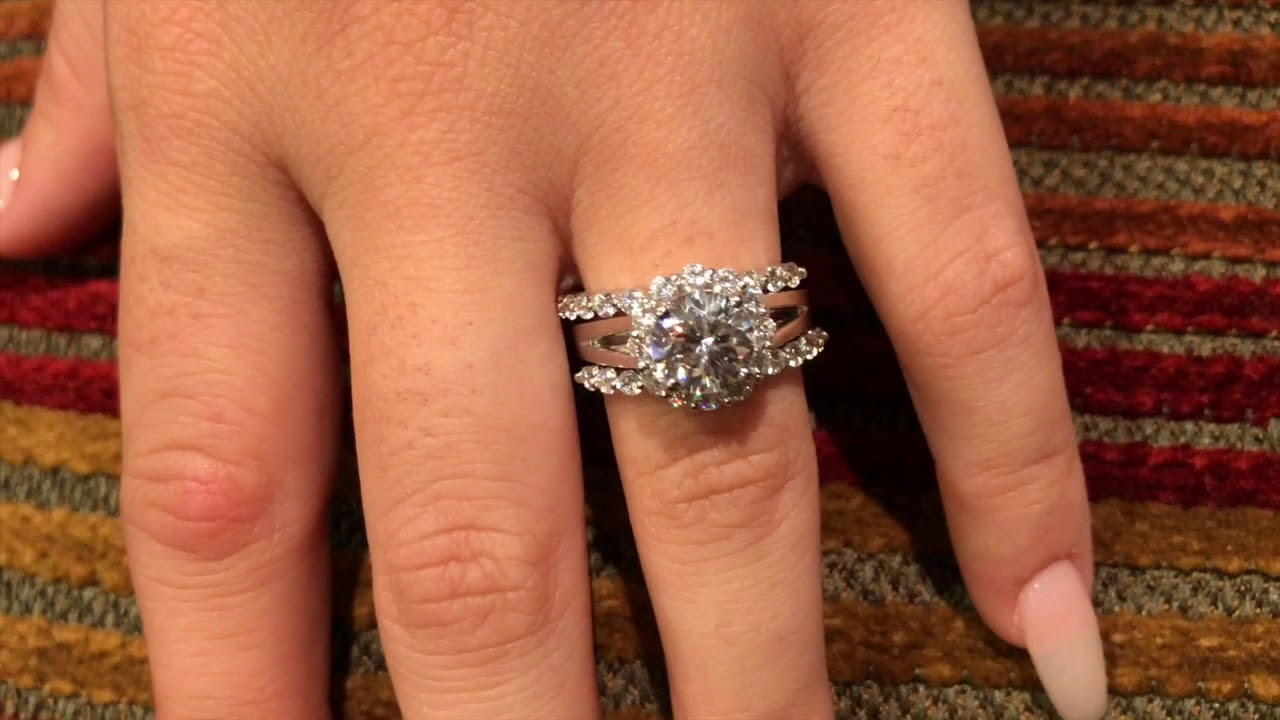 Platinum Engagement Ring With Double Bands 2 Carat Round Cz Halo